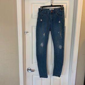 One Teaspoon High Rise Distressed Skinny Jeans